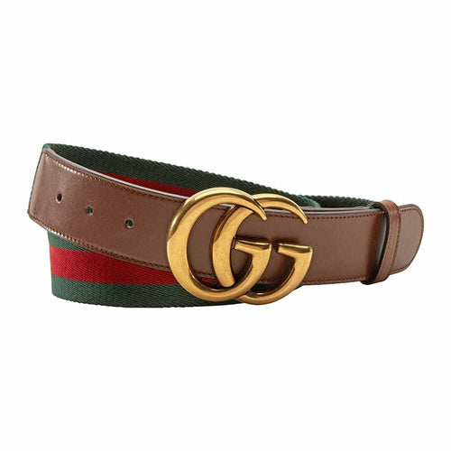 Gucci 409416-H17WT-8623-80 Size 80 Web Belt Double G Buckle Belt for Women - Brown 8068809500