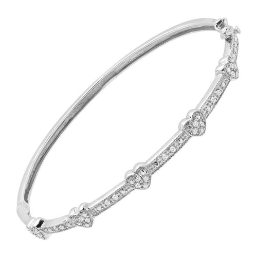 1/4 ct Diamond Hinged Heart Bangle Bracelet in Sterling Silver