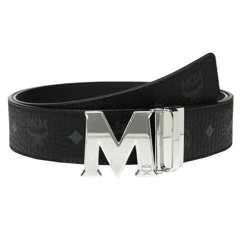 MCM MXB6AVI03BK Men's Claus M Reversible Black / Silver Buckle Belt in Visetos Black - 1.75
