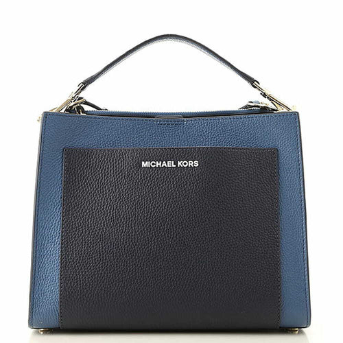 Michael Kors Gemma Medium Pocket Top Handle Satchel Bag - Dark Chambray Blue 192877509899