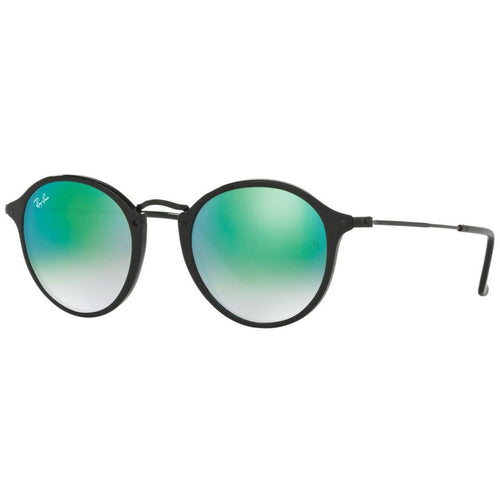Ray-Ban RB2447-901/4J Shiny Black Round Green Gradient Flash Lens Sunglasses 8053672561555