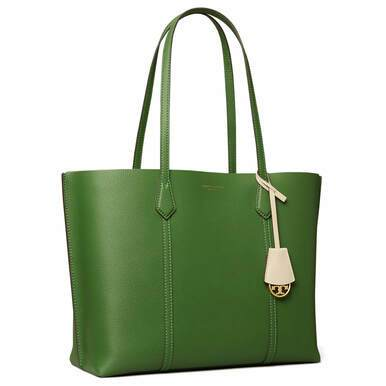 Tory Burch Ladies Perry Triple-Compartment Arugula Leather Tote Bag