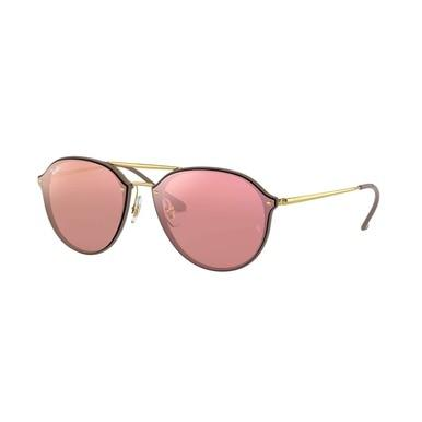 Ray-Ban RB4292N-6327E4 Blaze Brown Gold Round Pink Mirror Lens Sunglasses