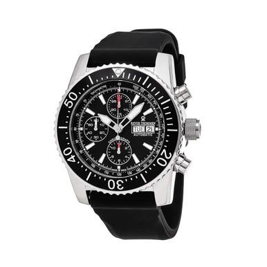 Revue Thommen 17030.6534 Airspeed Black Dial Black Rubber Chronograph Watch