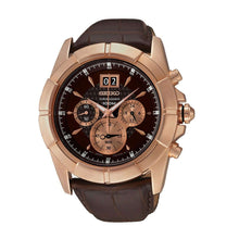 Load image into Gallery viewer, Seiko SPC114 Lord Brown Dial Men's Brown Leather Chronograph Watch 4954628168603