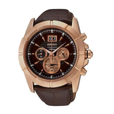 Seiko SPC114 Lord Brown Dial Men's Brown Leather Chronograph Watch