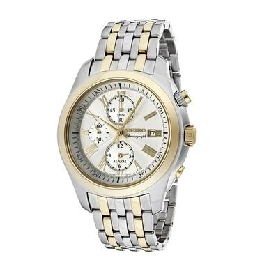 Seiko SNAE32 Classic Two Tone Stainless Steel Silver Dial Men's Chronograph Watch