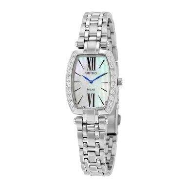 Seiko SUP283 Tressia Solar Mother of Pearl Dial Diamond Accent Women's Watch