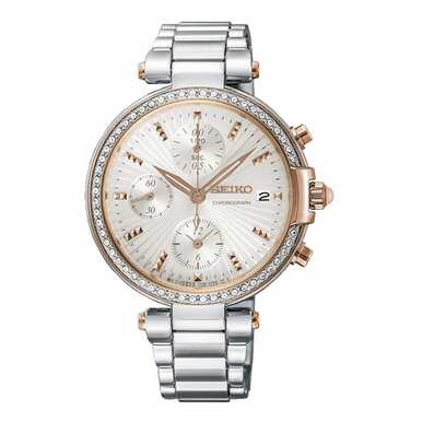 Seiko SNDV44 Crystal Accent White Dial Women's Chronograph Watch