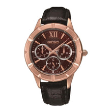 Load image into Gallery viewer, Seiko SKY696 Black Leather Burgundy Dial Women's Multi-Function Watch 4954628172693