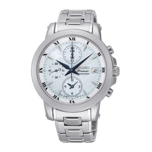 Load image into Gallery viewer, Seiko SNDV71 Premier Silver Stainless Steel White Dial Blue Hands Chronograph Watch 4954628192233