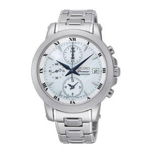 Load image into Gallery viewer, Seiko SNDV71 Premier Silver Stainless Steel White Dial Blue Hands Chronograph Watch