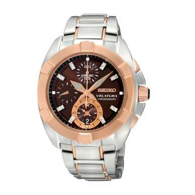 Seiko SNDZ20 Velatura Two Tone Stainless Steel Brown Diamond Dial Chronograph Watch