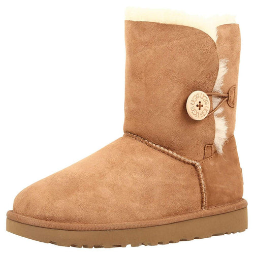 UGG Women's Bailey Button II Suede Water Repellent Boots - Chestnut - Size 5