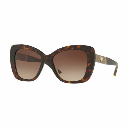 Versace VE4305Q-108/13 Dark Havana Oversize Plastic Gradient Brown Lens Women's Sunglasses 8053672820935