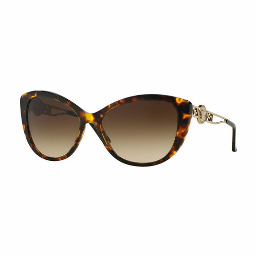 Versace VE4295-514813 Havana Cat Eye Plastic Brown Lens Women's Sunglasses 8053672400922