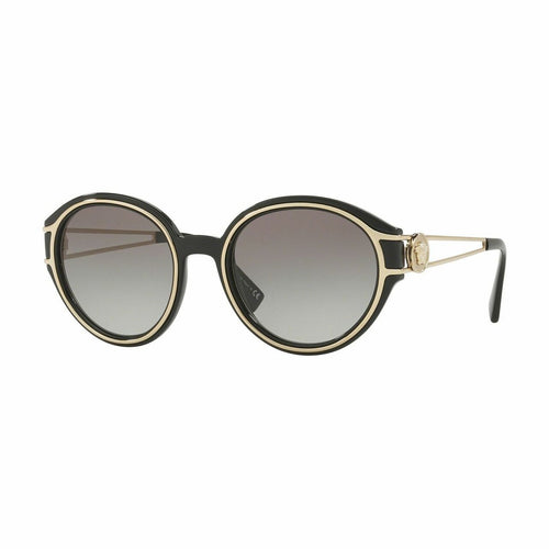 Versace VE4342-GB1/11 Black Pale Gold Round Plastic Gradient Grey Lens Women's Sunglasses 8053672801644