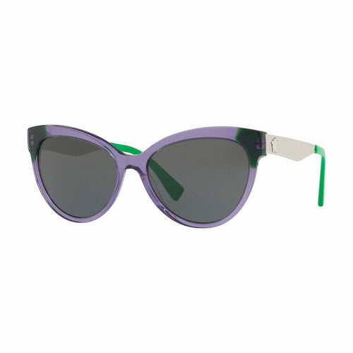Versace VE4338-524587 Clear Violet Green Cat Eye Grey Lens Women's Sunglasses 8053672754735
