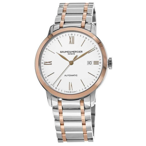 Baume et Mercier Classima Rose Gold & Stainless Steel Silver Dial Automatic Men's Watch 10314 7613268705872