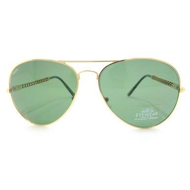 Invicta IEW017-29 Invicta Sun Green Lenses Gold Full Rim Aviator Sunglasses Frames