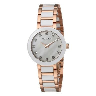 Bulova 98P160 Two Tone Mother of Pearl Dial Women's Watch