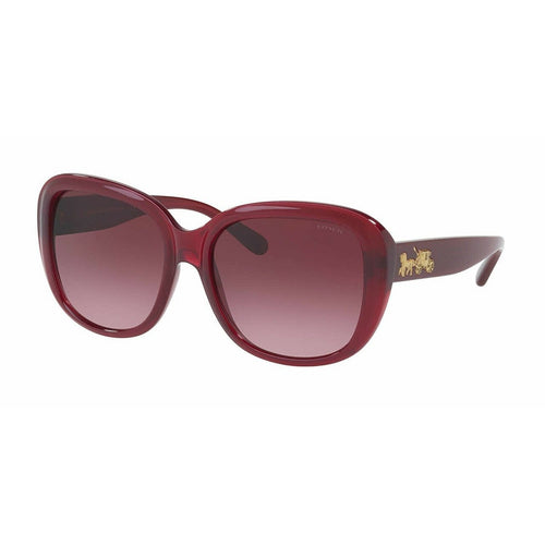 Coach HC8207-54508H Red Square Burgundy Gradient Lens Sunglasses 725125975353