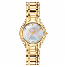 Load image into Gallery viewer, Citizen EM0282-56D Eco Drive Silhouette Gold Tone Mother of Pearl Women's Watch 013205107313
