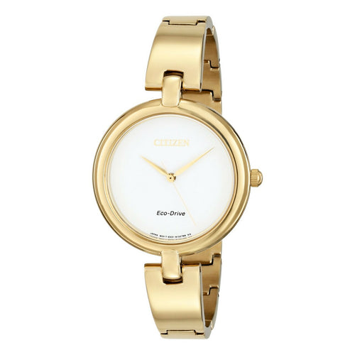 Citizen EM0222-82A Eco Drive Silhouette Gold Tone Bangle Ladies Watch 013205107290