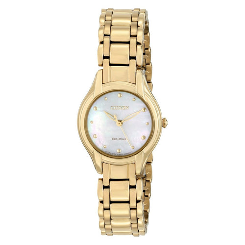 Citizen EM0282-56D Eco Drive Silhouette Gold Tone Mother of Pearl Women's Watch 013205107313