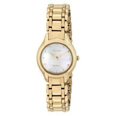 Citizen EM0282-56D Women's Eco-Drive Silhouette Gold Tone Mother of Pearl Dial Watch