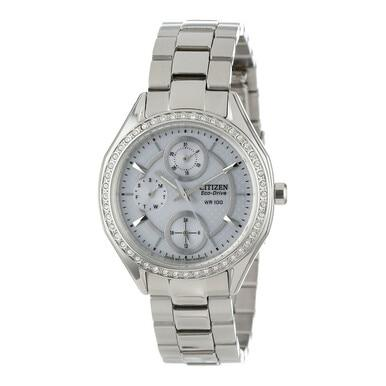 Citizen FD1060-55A Eco Drive POV 2.0 Stainless Steel Swarovski Crystal Accent Women's Watch
