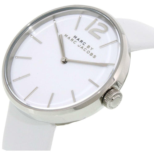 Marc Jacobs MBM1361 Peggy White Leather Women's Quartz Strap Watch 796483178847