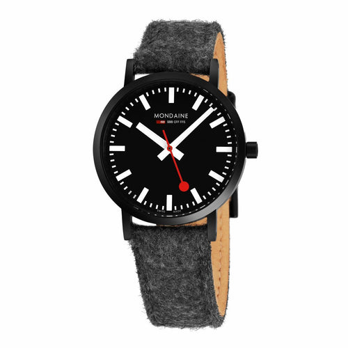 Mondaine A660.30314.64SBH Classic Black Dial Felt Strap Leather Lining Watch 7630040918275