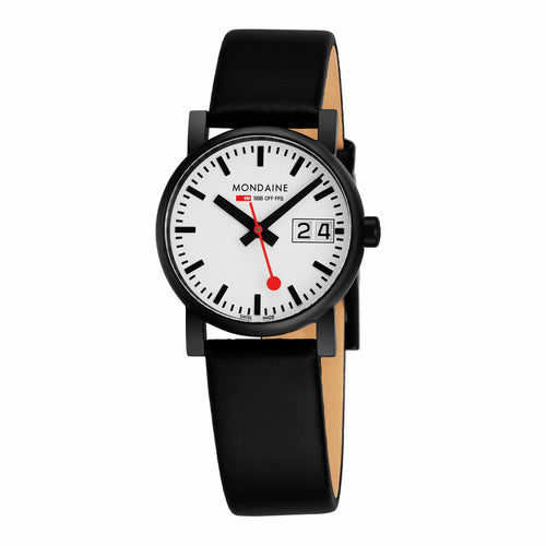 Mondaine A669.30305.61SBB Evo White Dial IP Steel Black Leather Women's Watch 7611382488527
