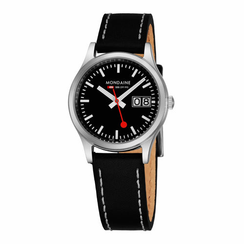 Mondaine A669.30311.14SBB Sport Black Dial Women's Leather Watch 7611382541123