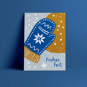 Postkarte // »Frohes Fest« Handschuh
