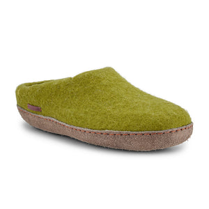 Classic Slipper - Lime Green with Leather