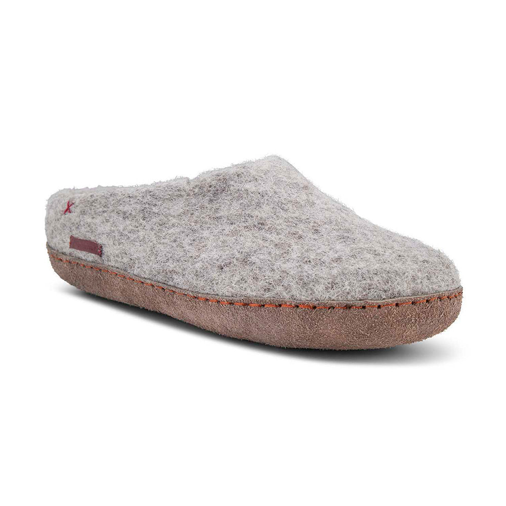 Classic Slipper - Grey with Leather