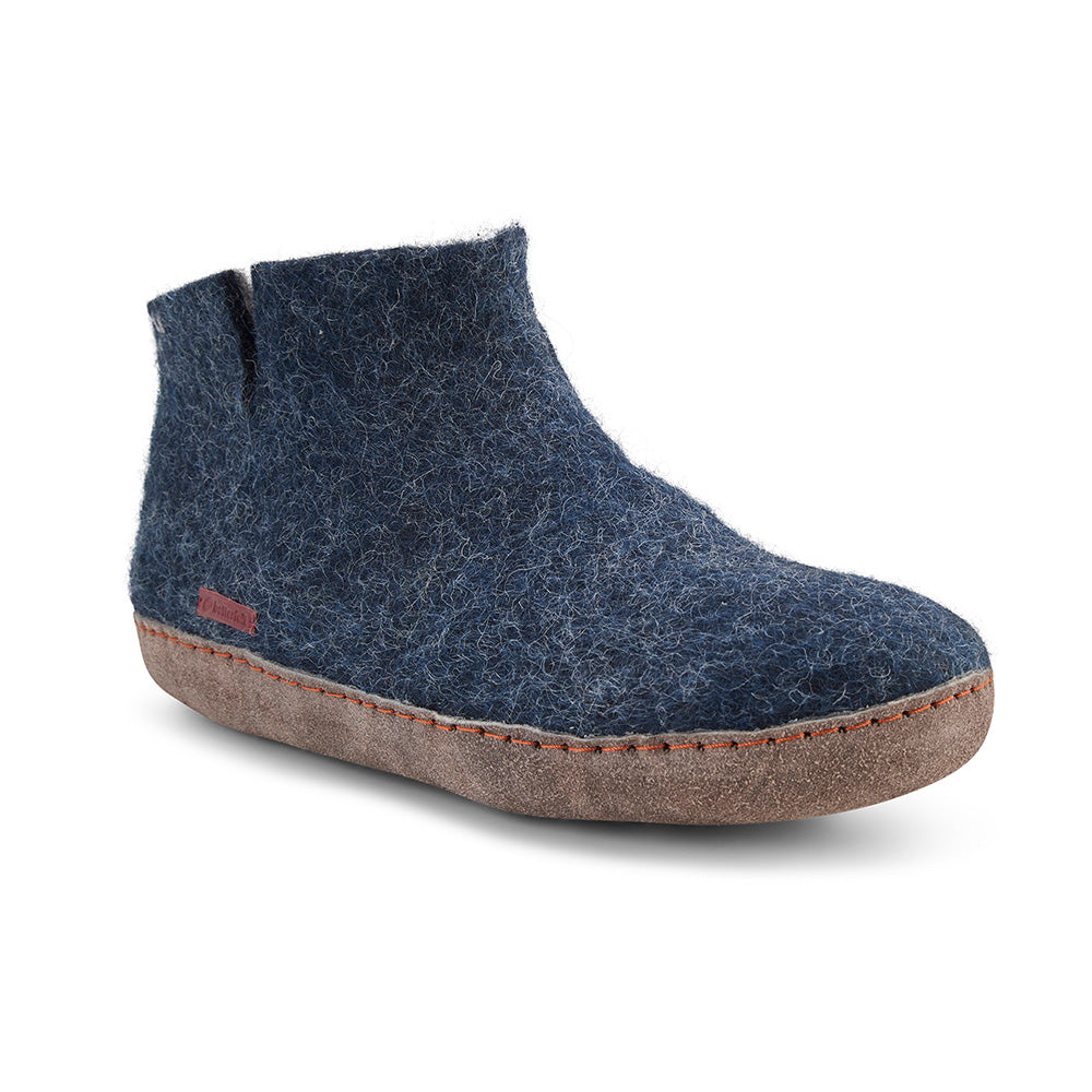 Classic Boot - Navy Blue with Leather