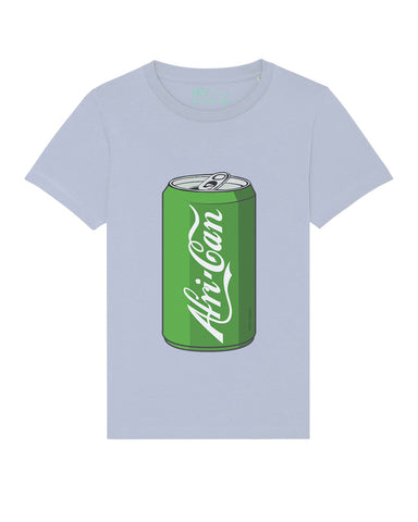children's short sleeve African T-shirt in sky blue (soda can)