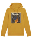 organic cotton hoodie, with Queen design, in mustard
