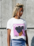"""Queen"" Organic Cotton T-Shirt - Baby Pink - White"
