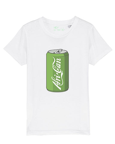 children's short sleeve African T-shirt in white (soda can)