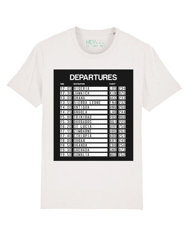 """Departures - 15 Nations"" Organic Cotton T-Shirt - white"