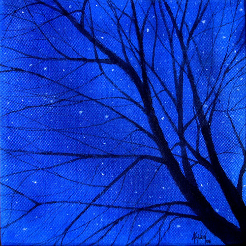 "Tree Stars (acrylic on canvas, 9""x9"")"