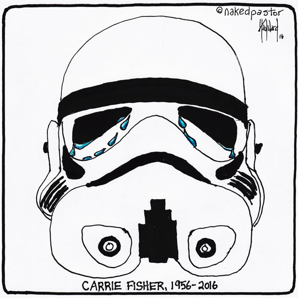 R.I.P. Carrie Fisher Tribute Cartoon