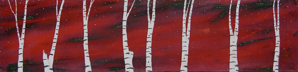 acrylic on canvas northern lights and birches
