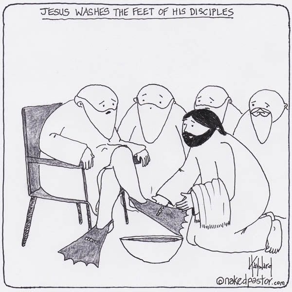 CAPTION THIS CARTOON: Jesus Washes the Disciples' Feet