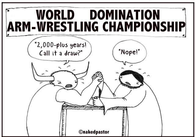 cartoon: arm-wrestling