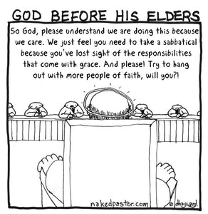 cartoon: God before his elders